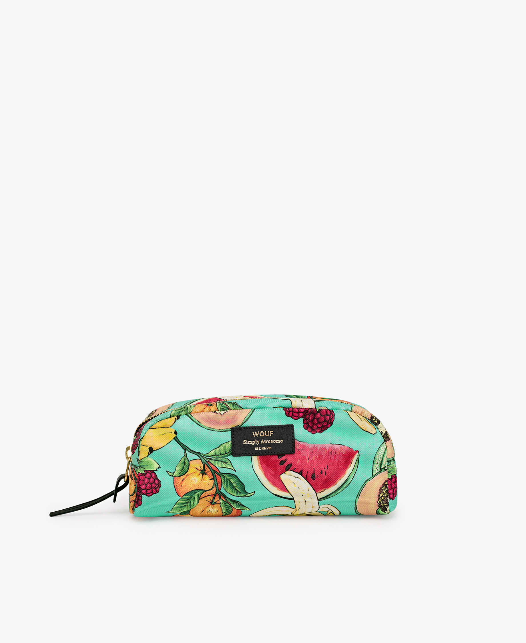 toiletry bag with colorful fruits
