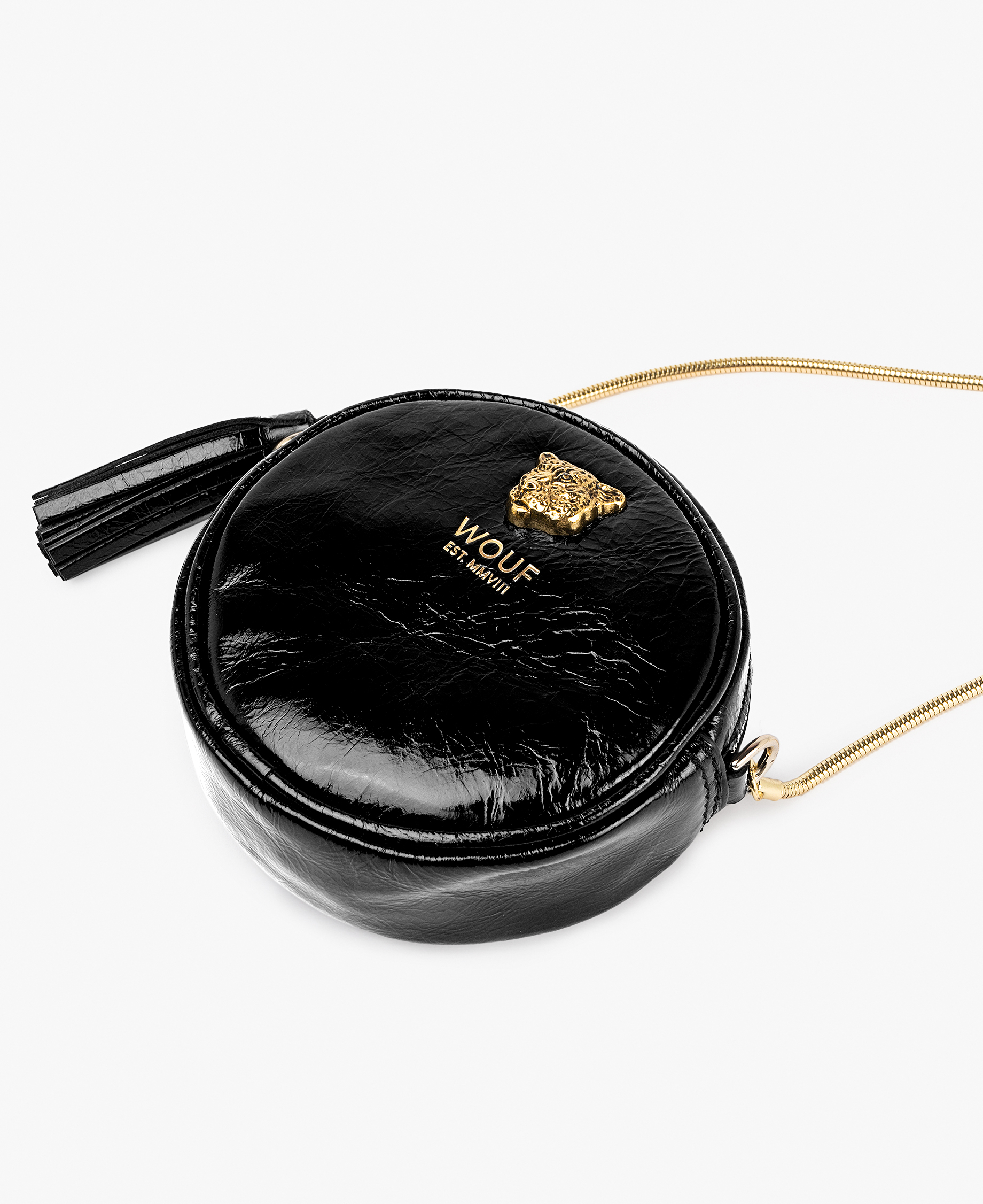 chic black leather woman mini bag