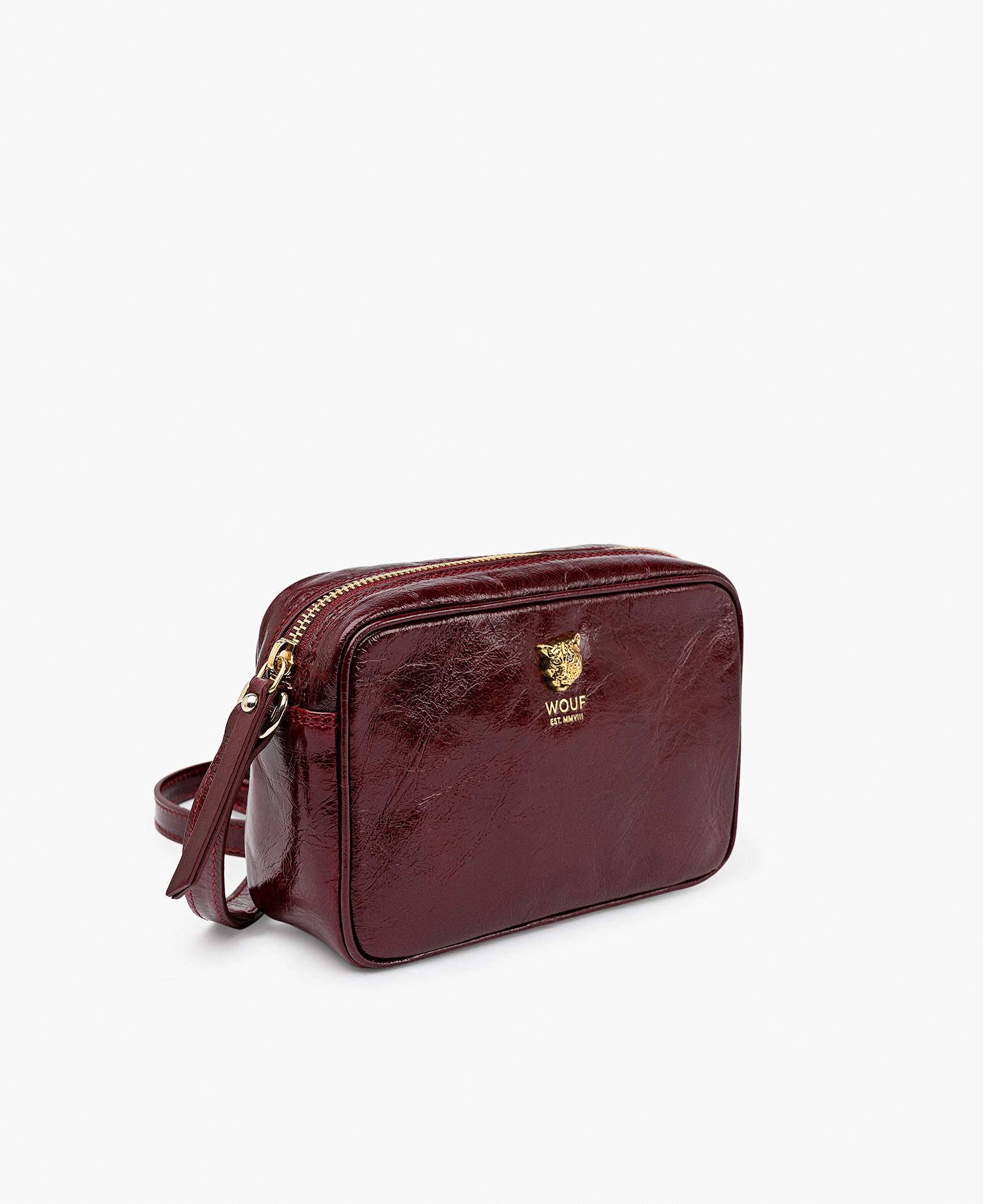 maroon leather camera bag