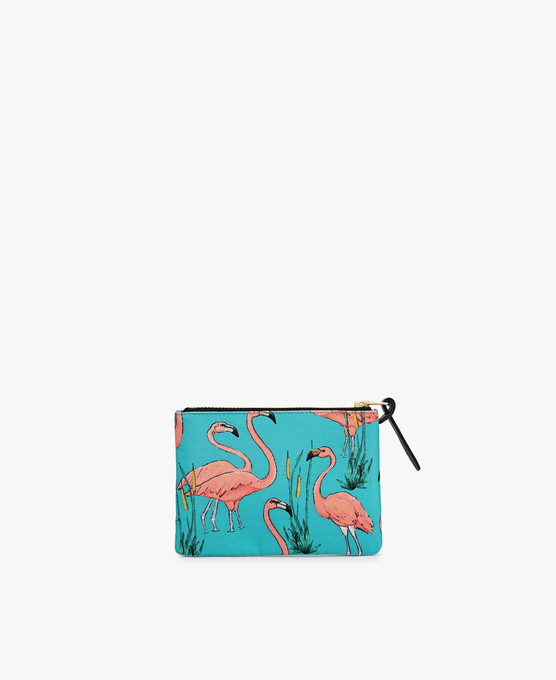 blue pouch bag with pink flamingos