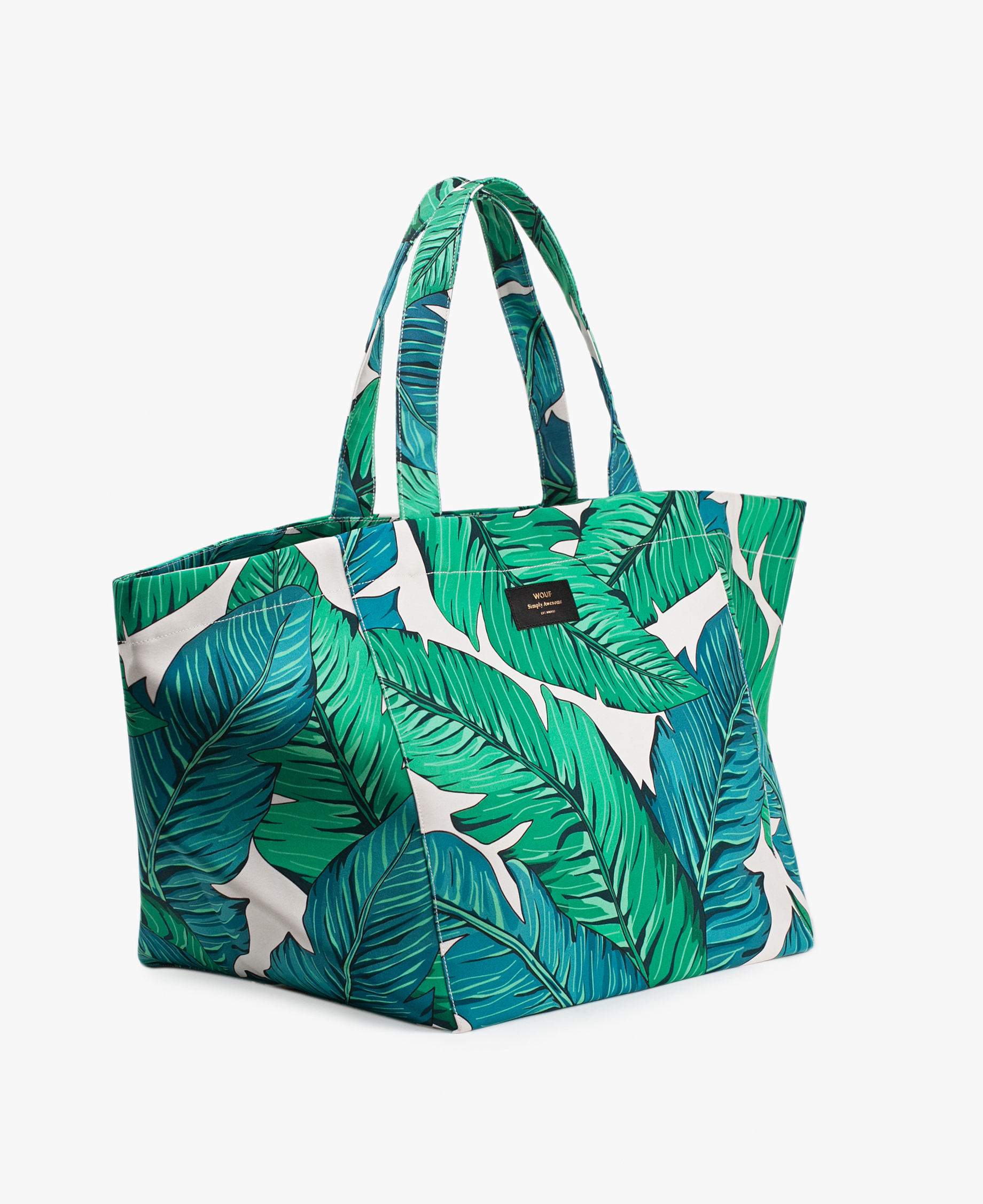 White big bag with green leaves