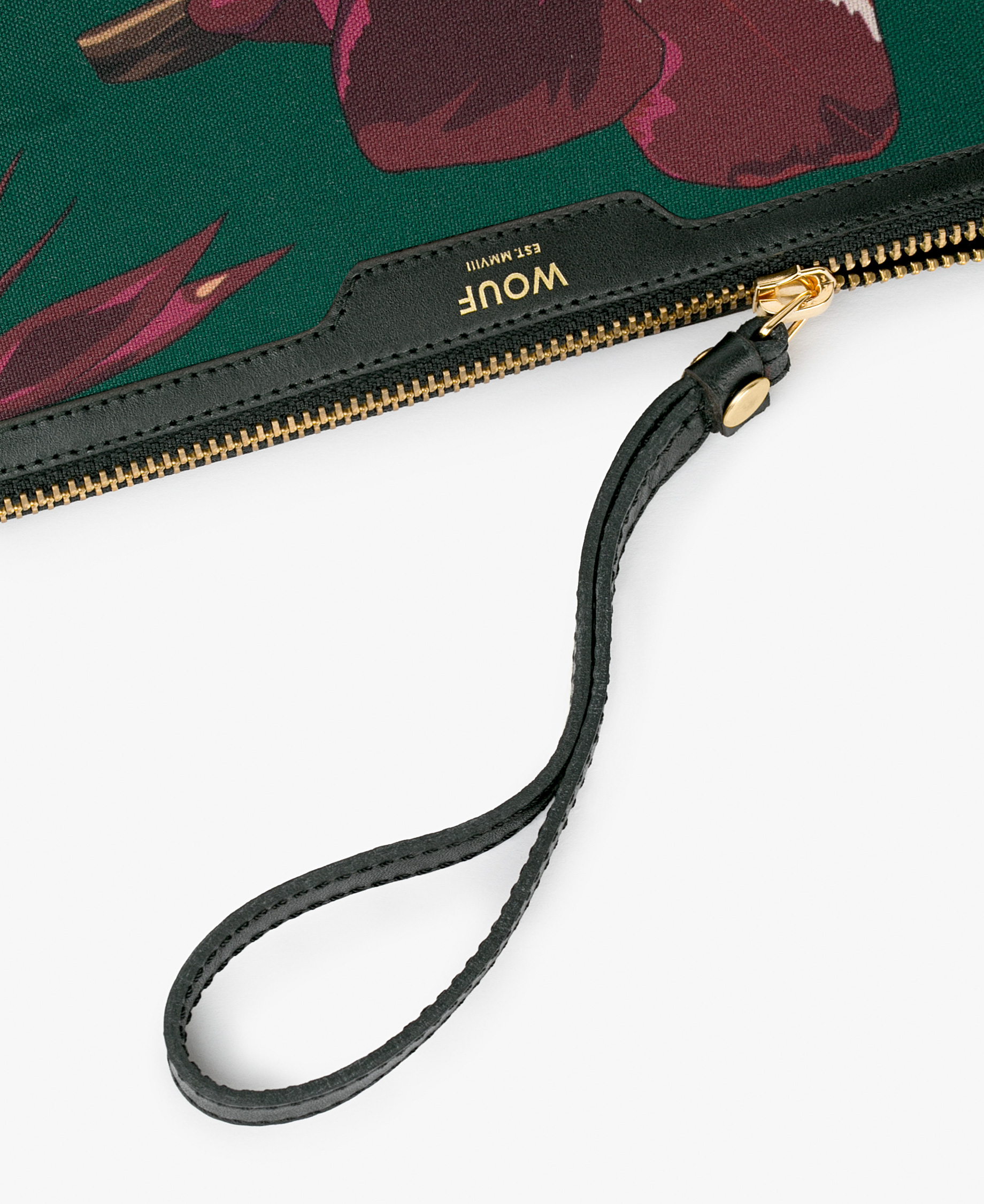 ladies clutch bag with leather details