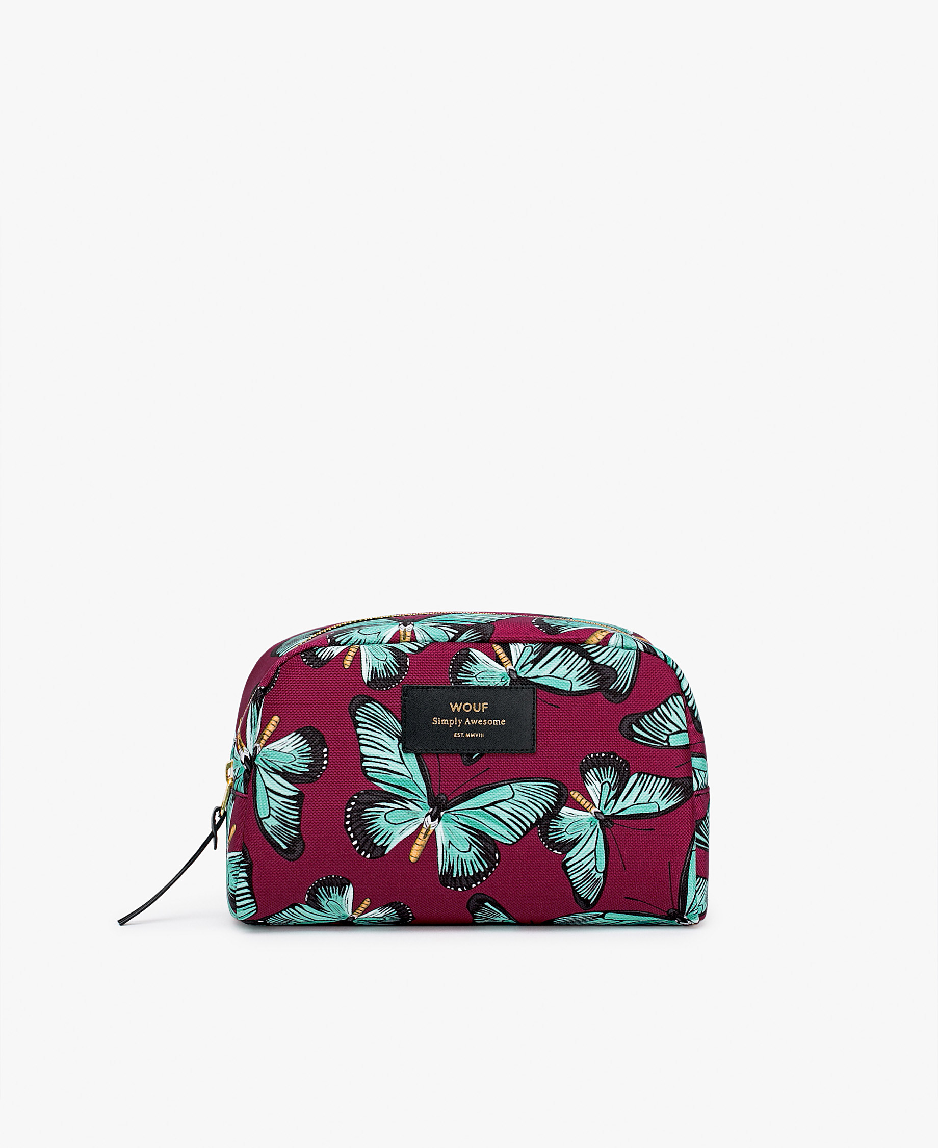woman's burgundy toiletry bag with butterflies