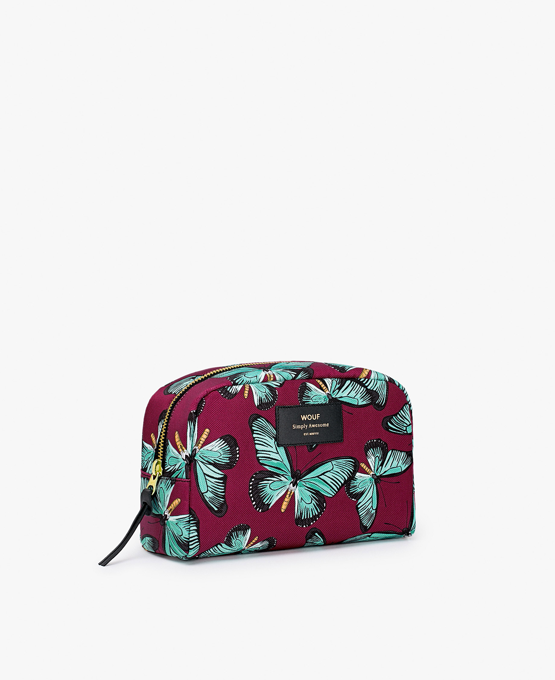 woman's toiletry bag with butterflies