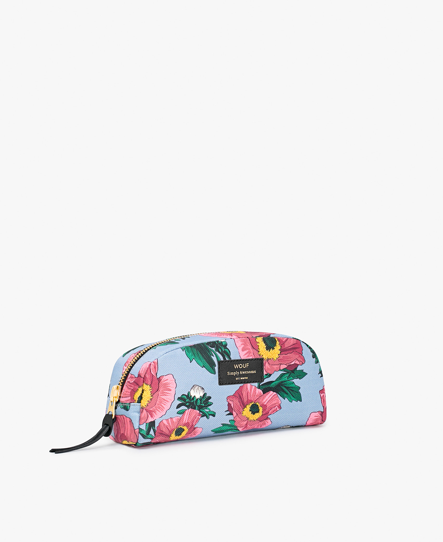 woman's blue toiletry bag with flowers