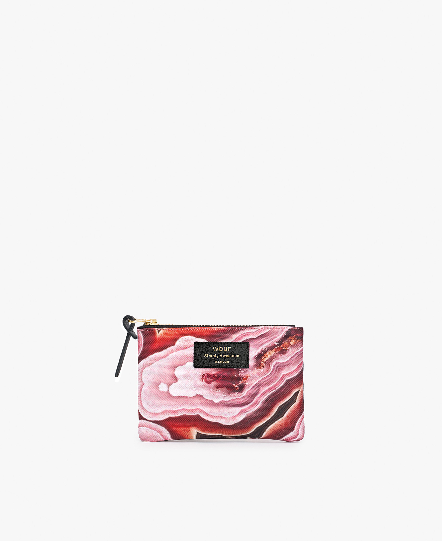 pink pouch woman with stone effect