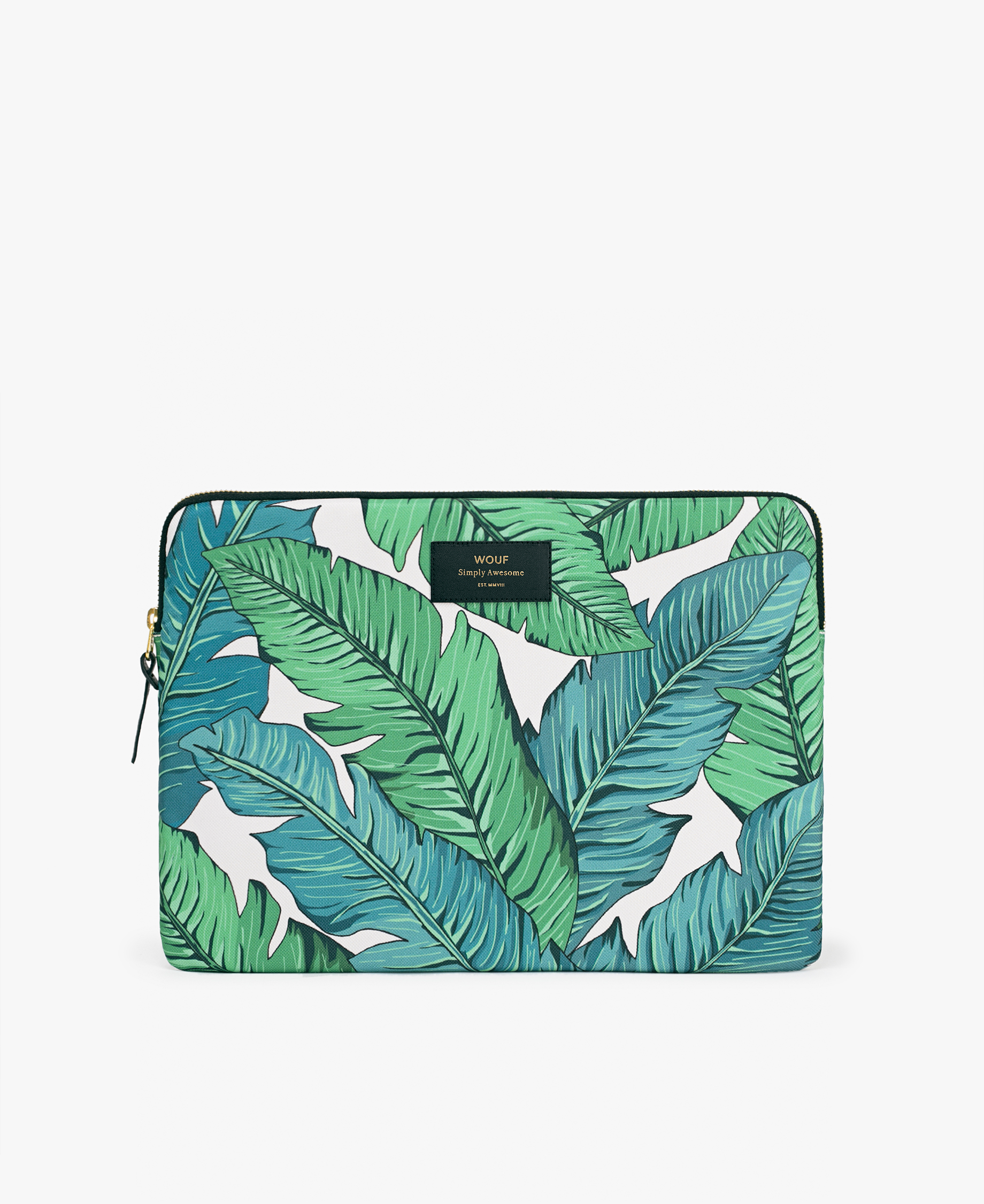 laptop case designed with green leaves