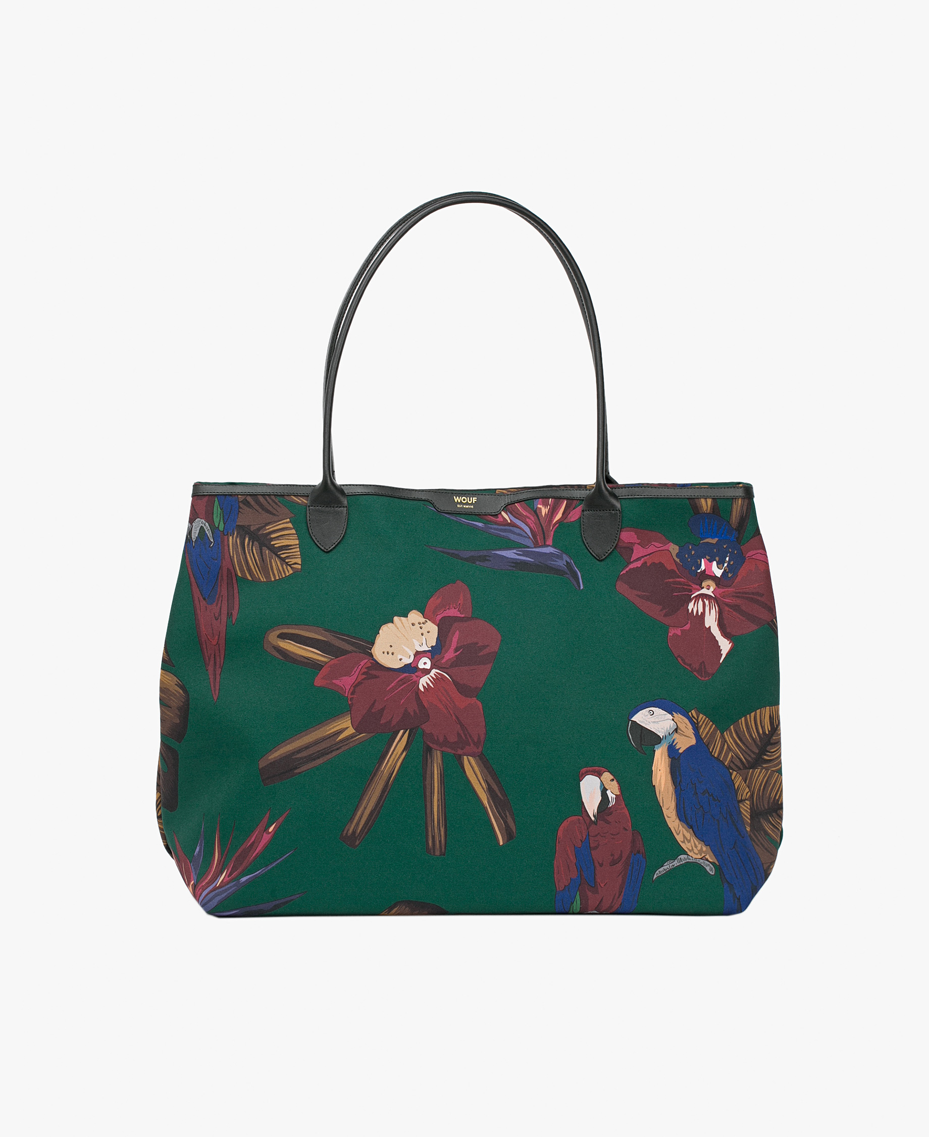 green tote bag with parrots and flowers