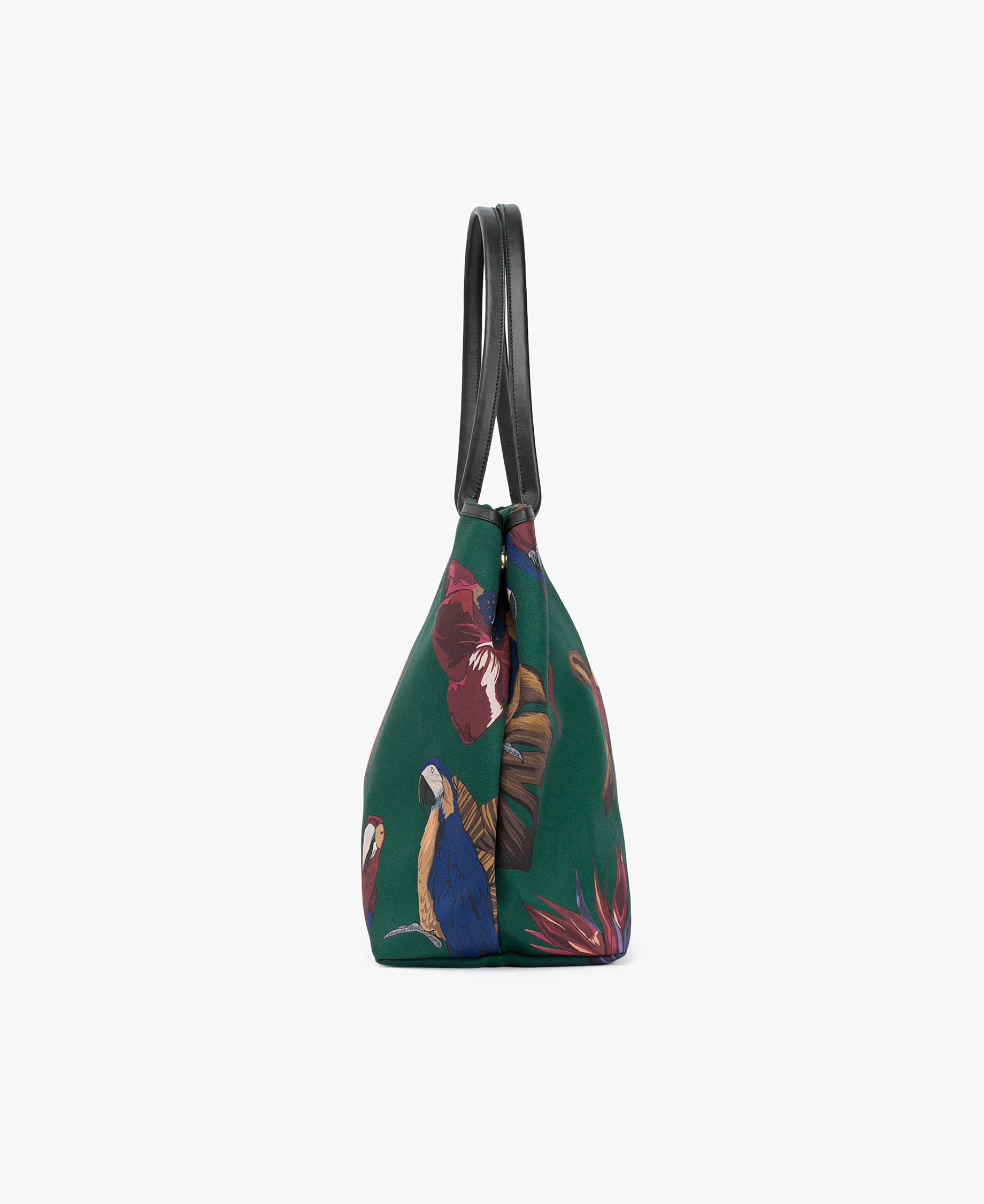 green tote bag with parrots