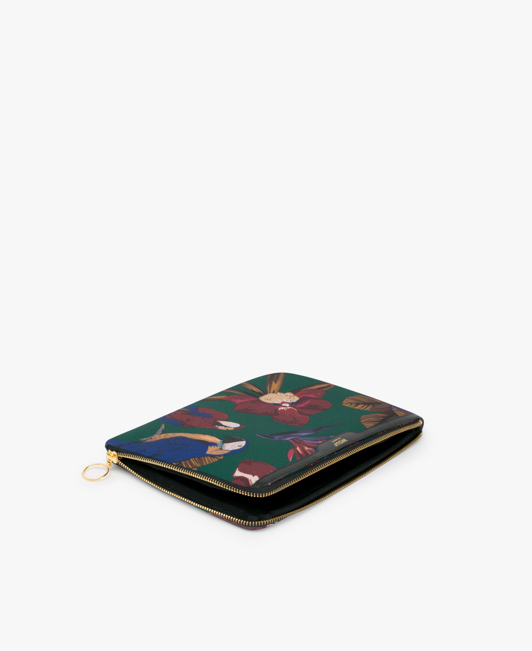 green ipad case with flowers