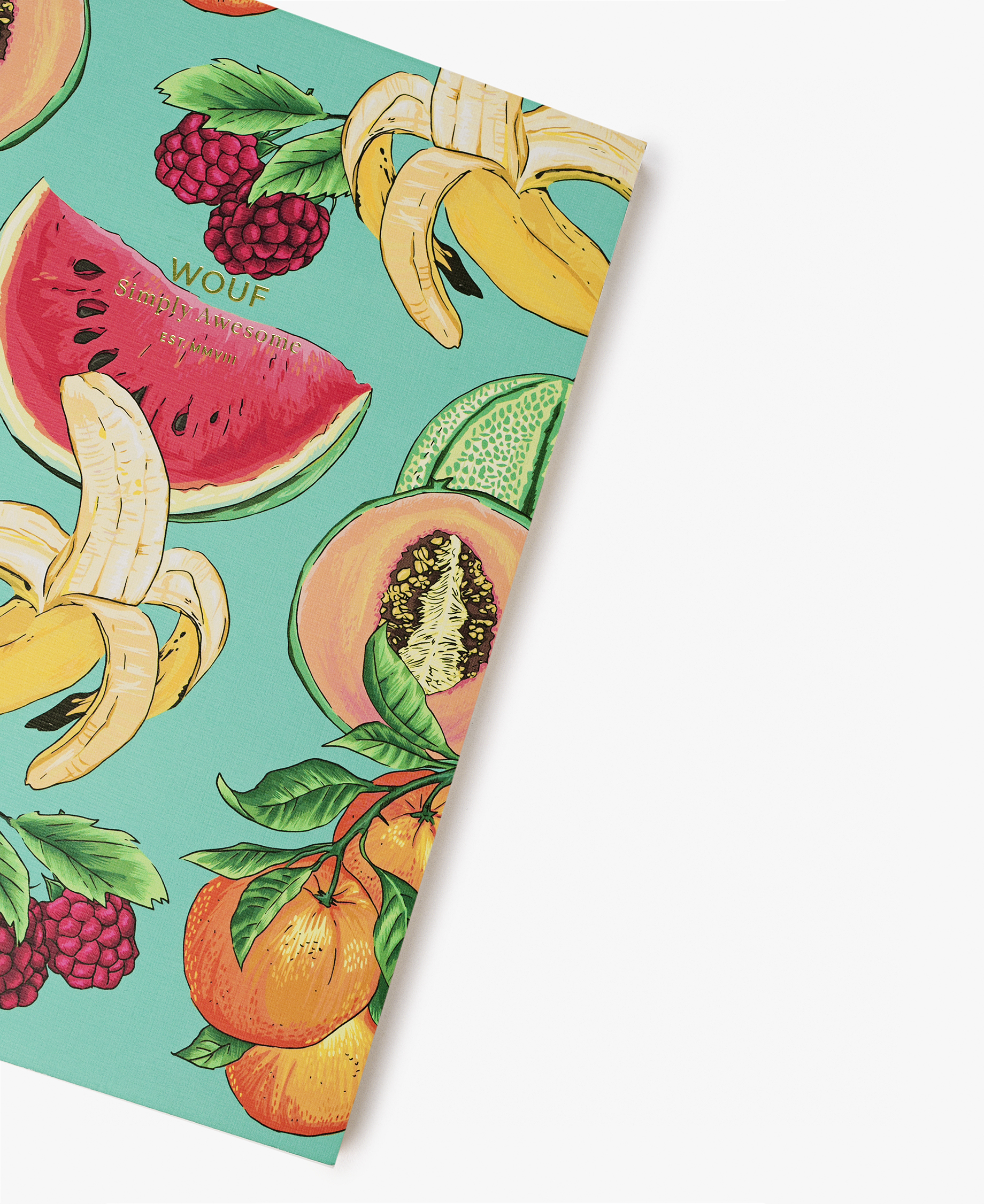 journal notebook designed with fruits