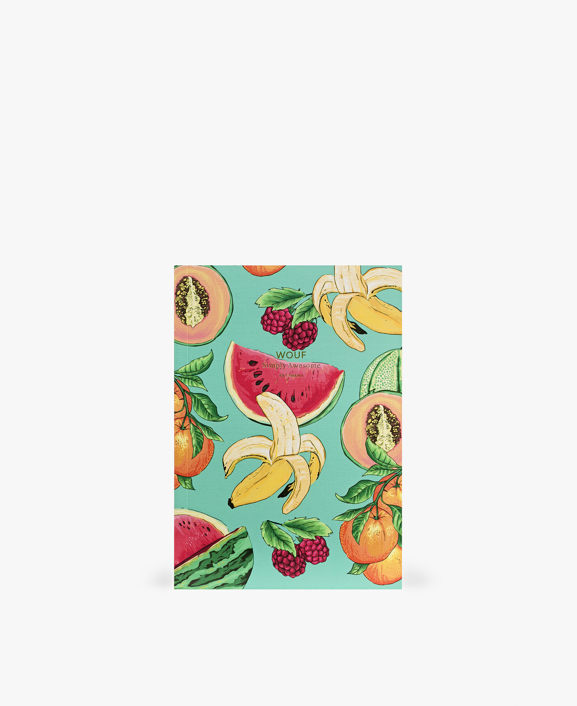 journal notebook with bananas, watermelon and other fruits