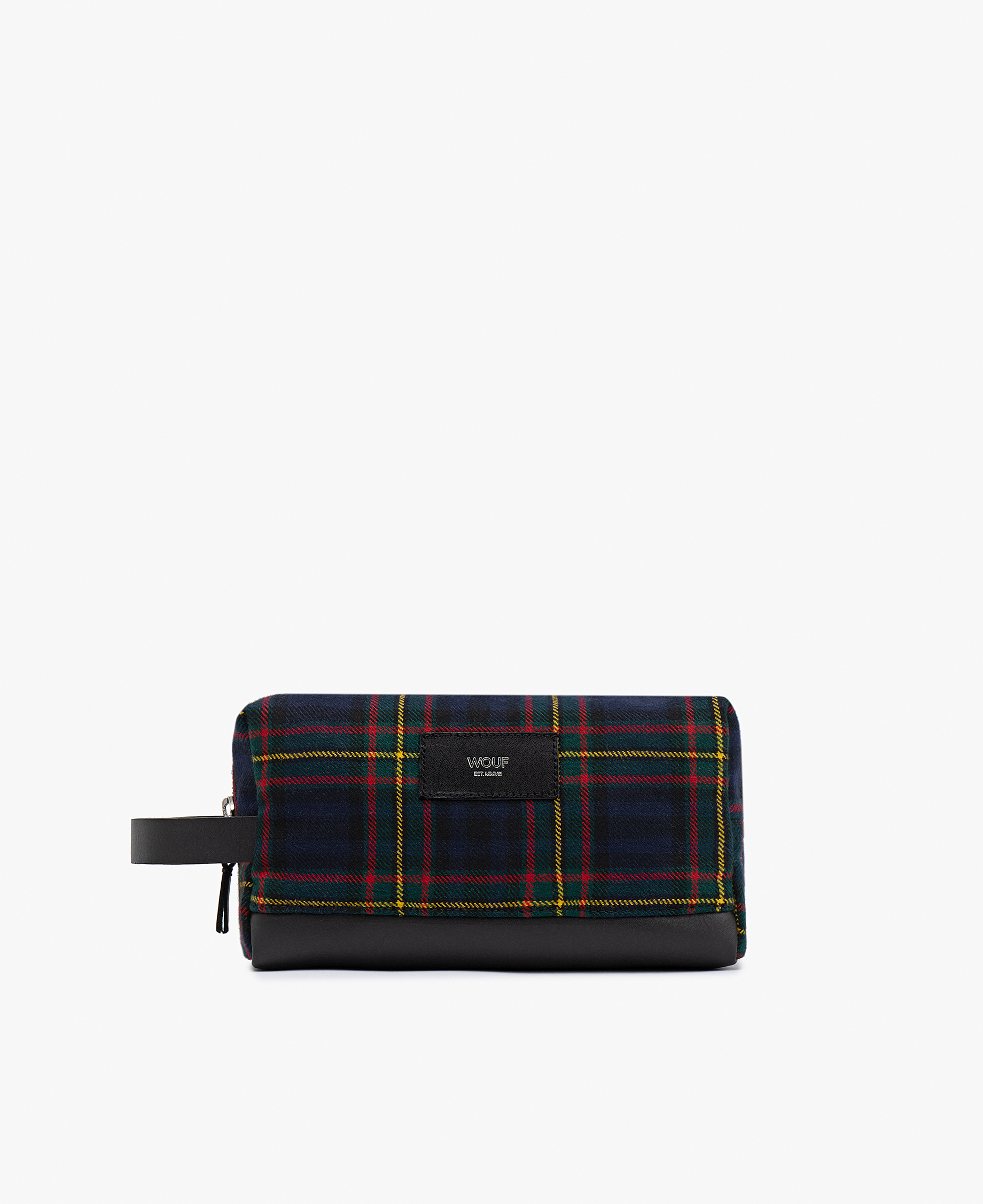 blue checkered toiletry bag