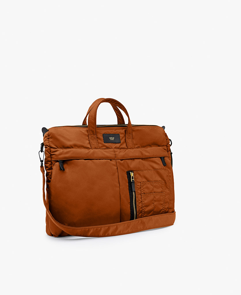 smart brown bag for man with leather details