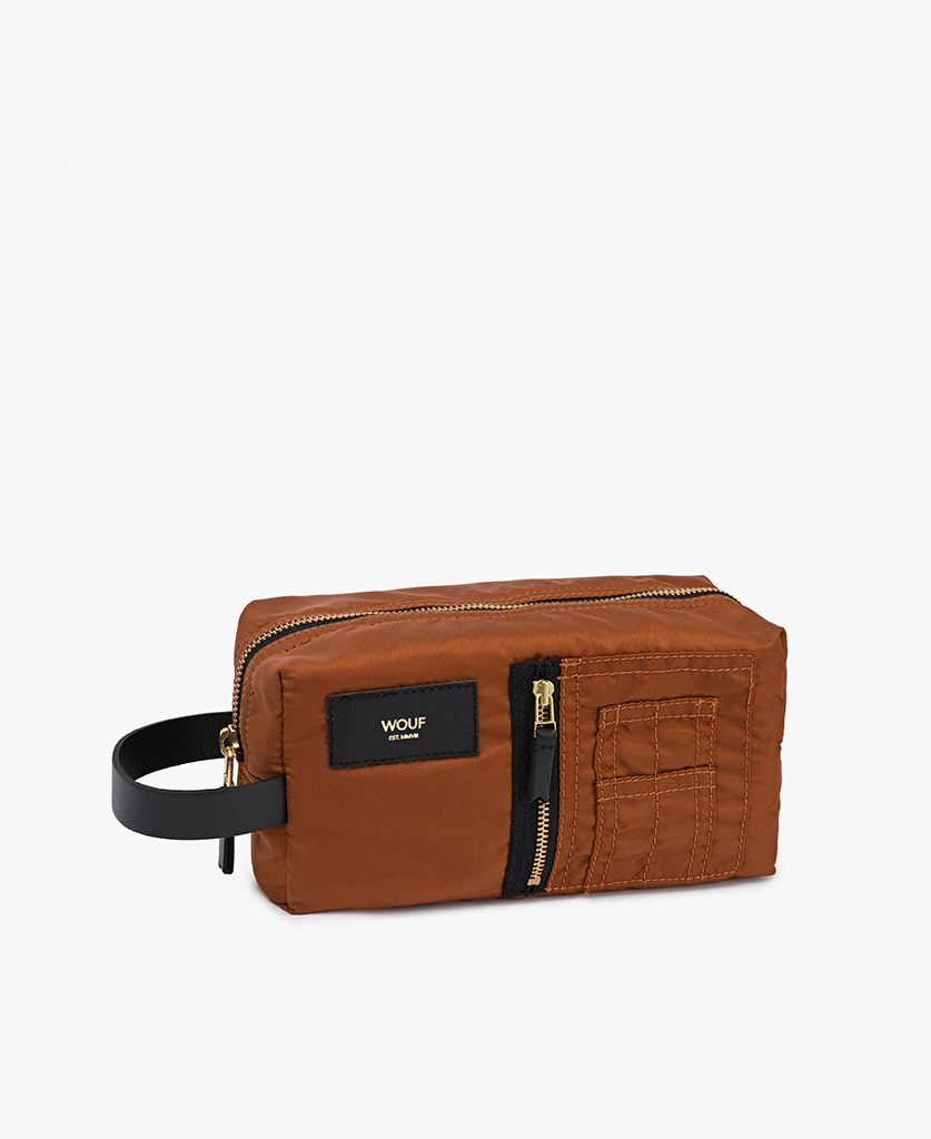 smart brown toiletry bag for man with leather details