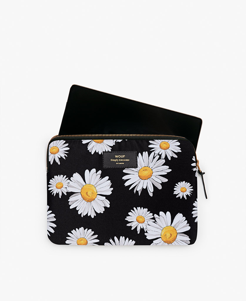 woman's black iPad case with white flowers