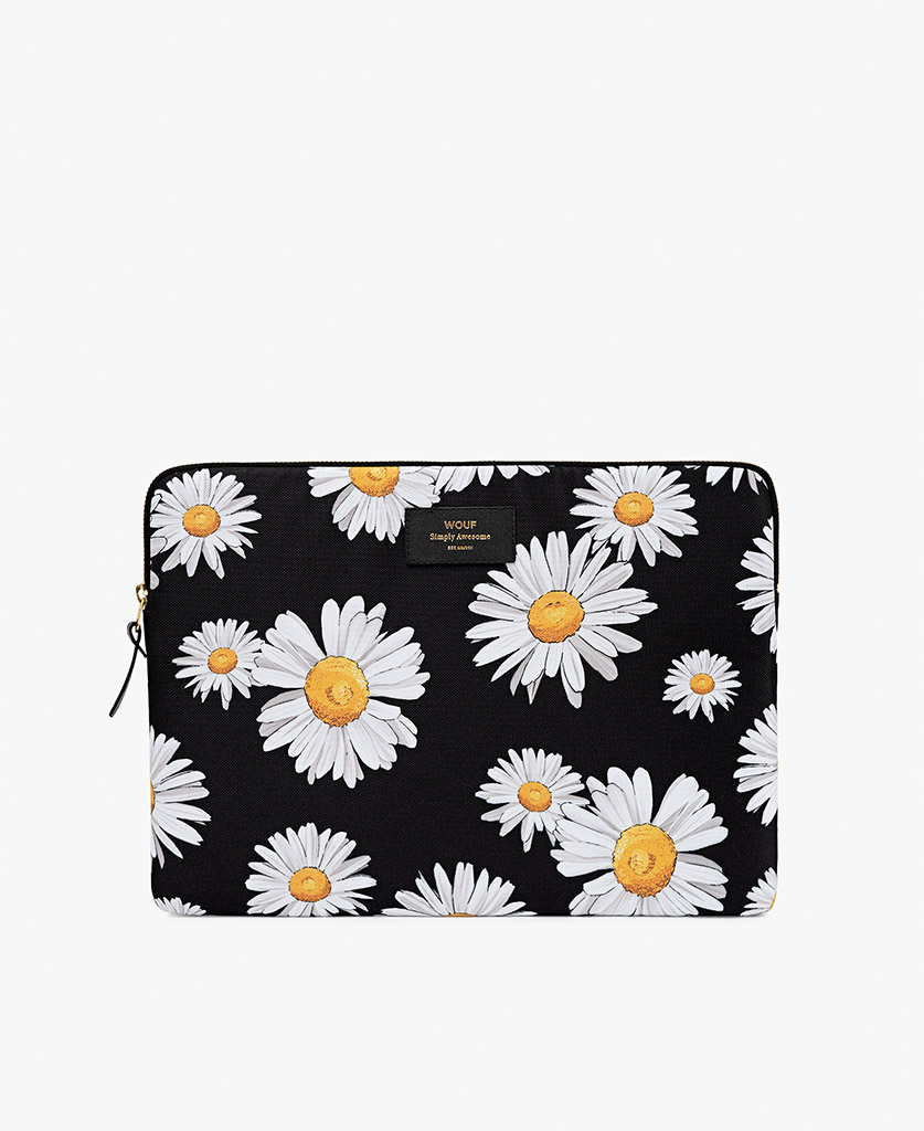 woman laptop case with white flowers