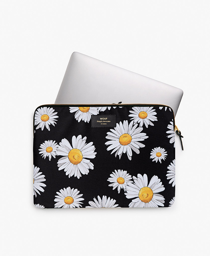 woman black laptop case with flowers
