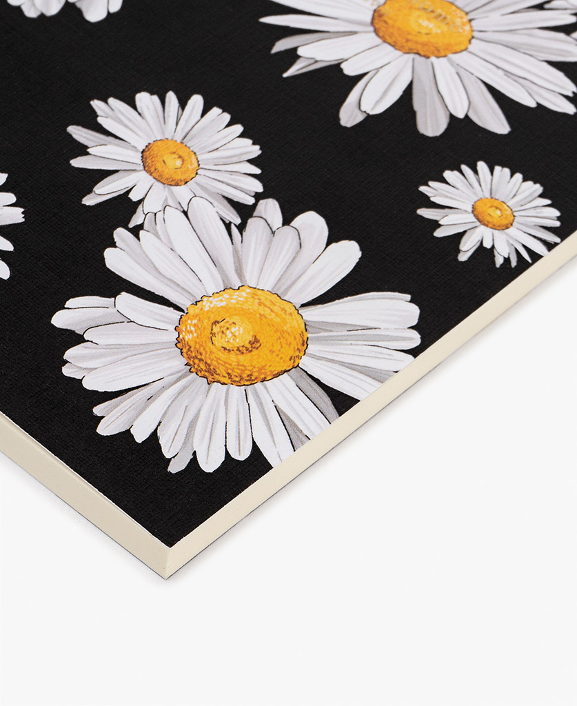 woman's A6 journal notebook in black with flowers