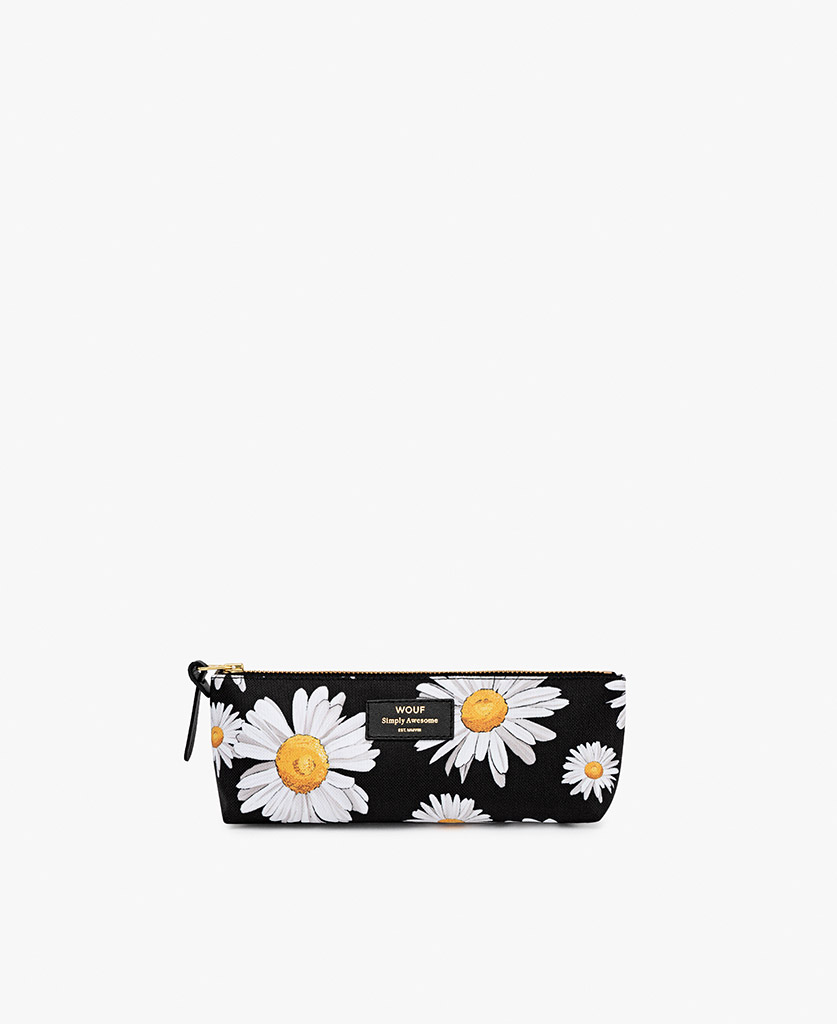 woman's black Pencil case with flowers