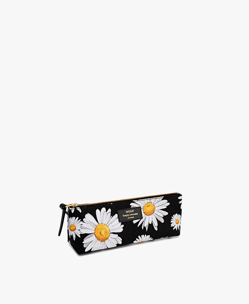 woman's Pencil case in black with flowers