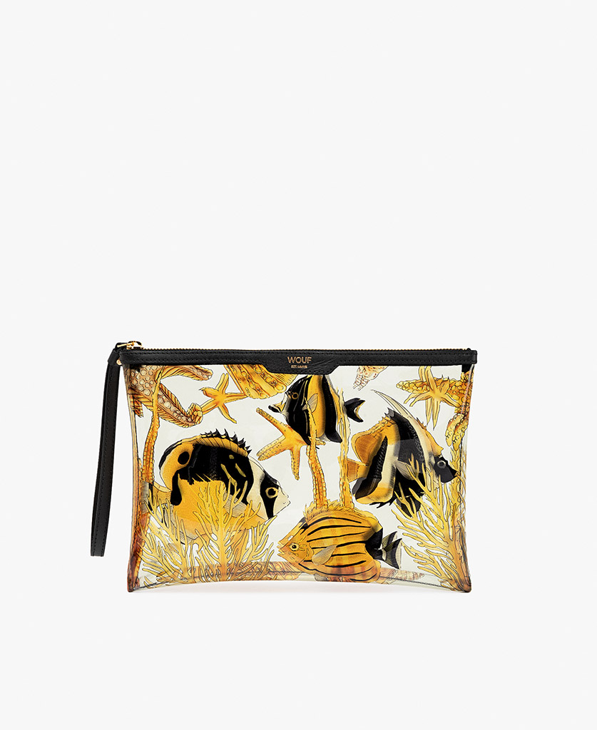woman's beige satin evening clutch with yellow fishes