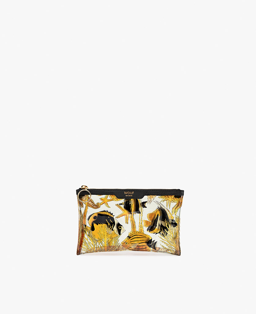 woman's vinyl clutch with fishes