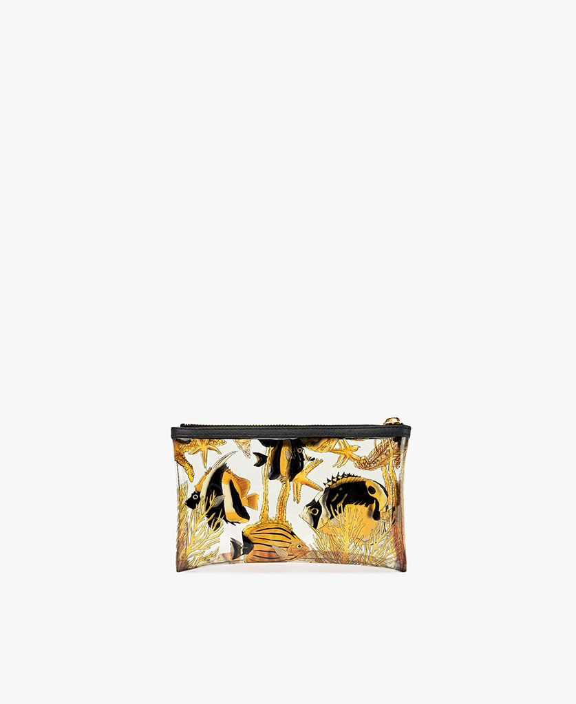 woman's vinyl clutch with yellow fishes