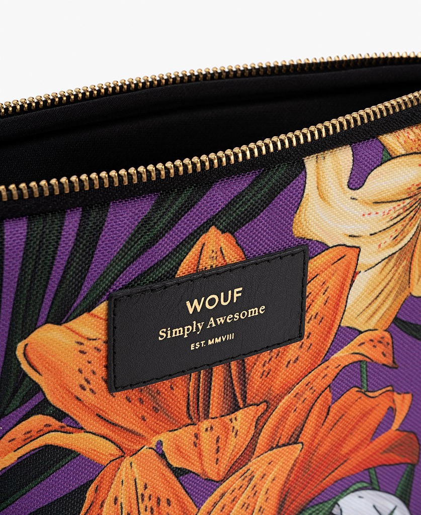 woman's purple iPad case with flowers