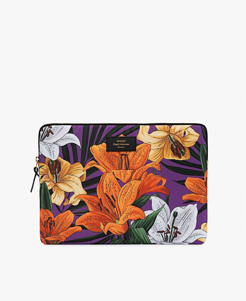 woman laptop case with flowers in purple