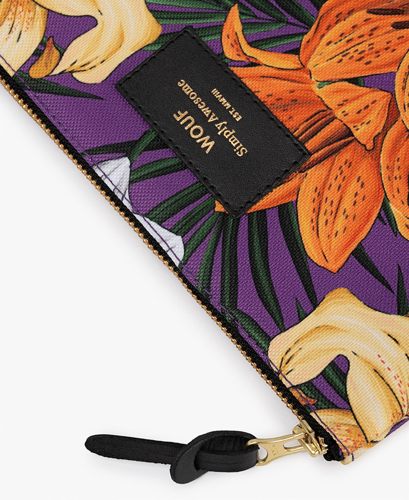 purple pouch bag for woman with flowers