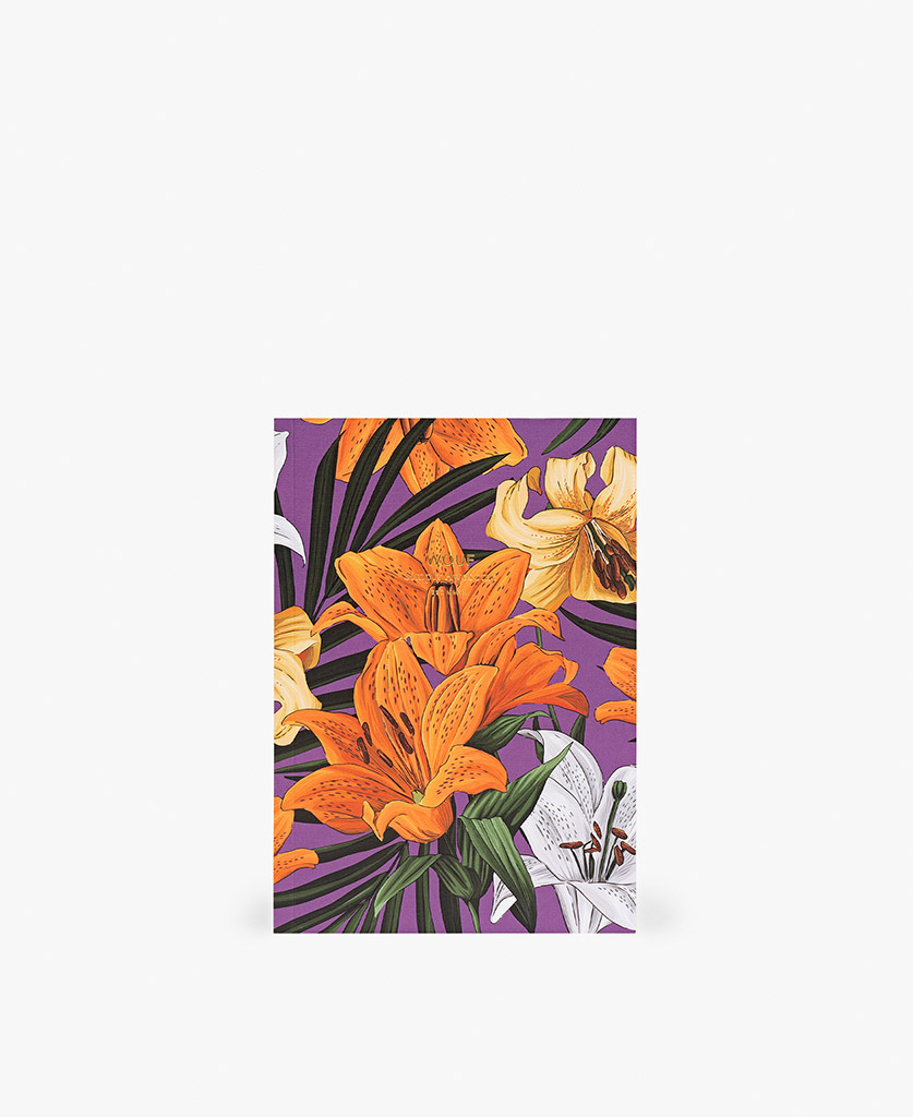 woman's A5 journal notebook in purple with flowers