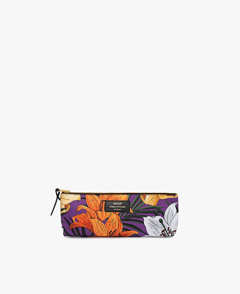 woman's purple Pencil case with flowers