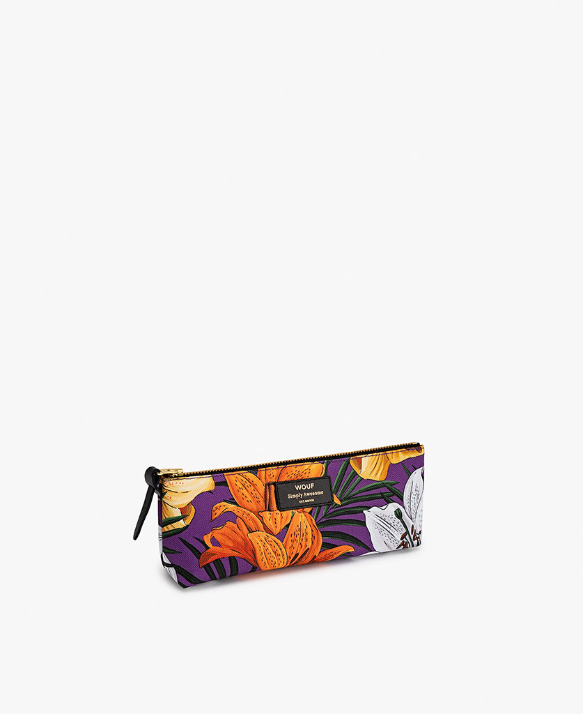 woman's Pencil case with flowers