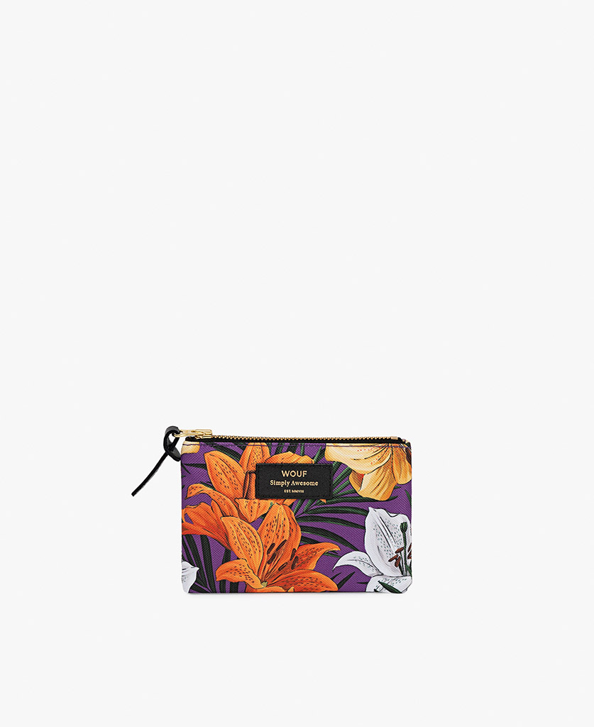 woman's pouch bag in purple with flowers
