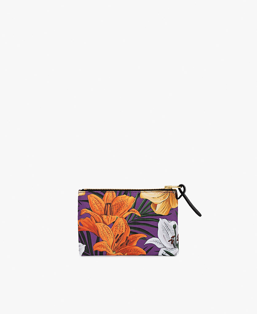woman's pouch bag in purple with orange flowers