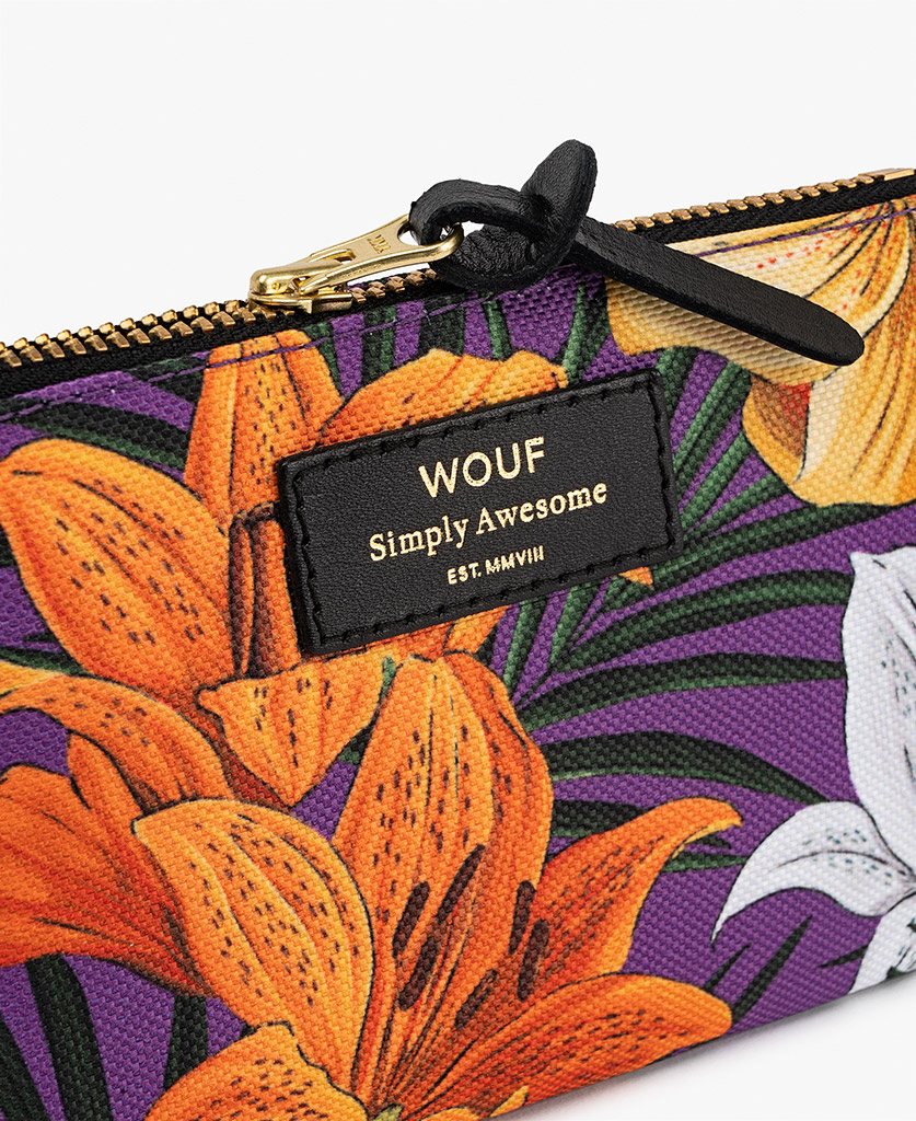 woman's pouch bag with flowers