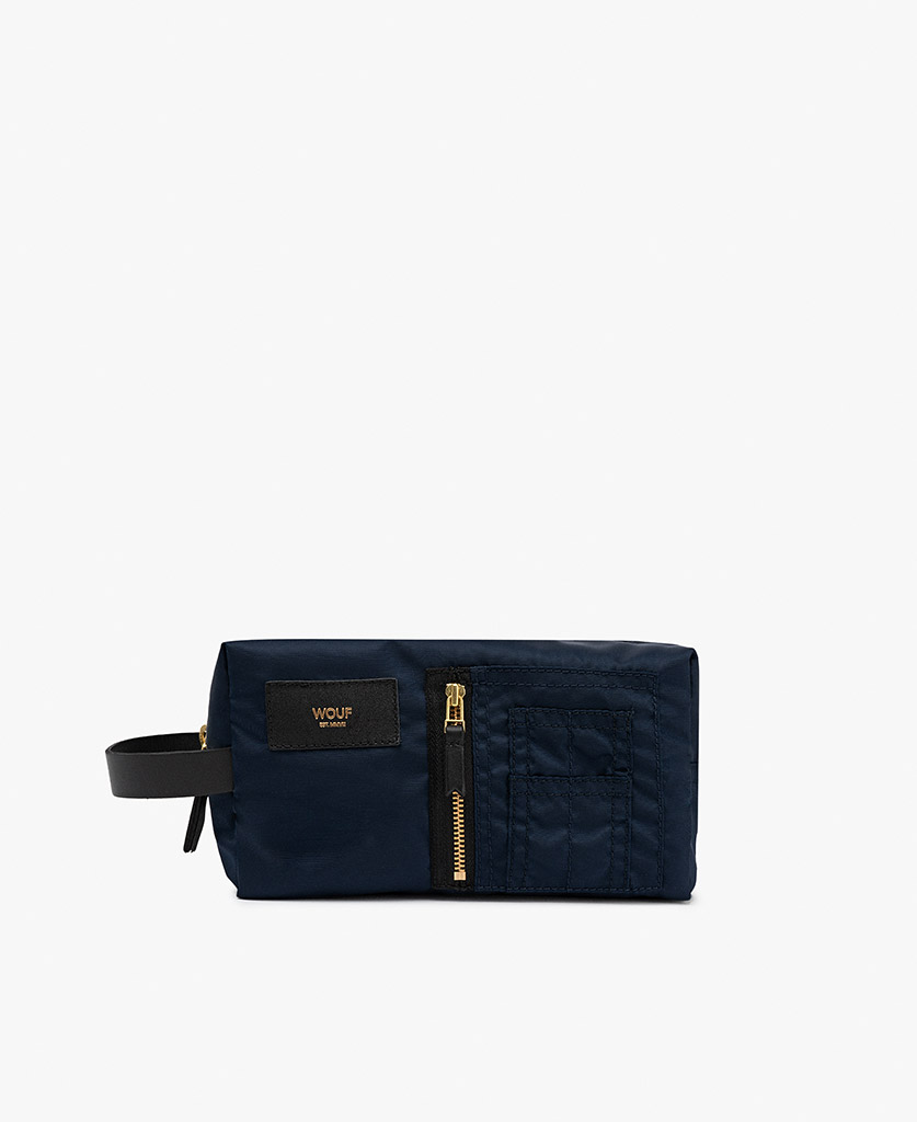 man's blue toiletry bag