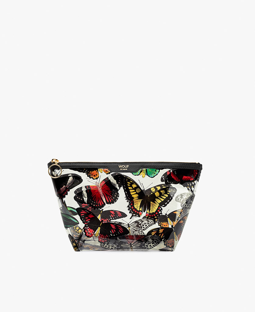 woman's vinyl toiletry bag with flowers