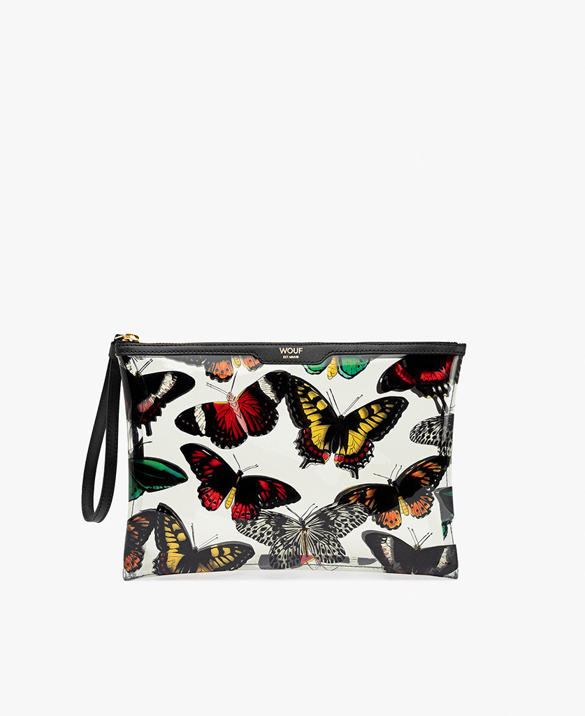 woman's white satin evening clutch with colorful butterflies