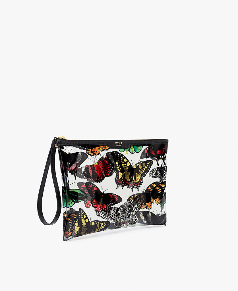 woman's white satin evening clutch with butterflies