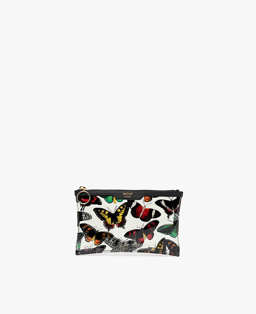 lady's white vinyl clutch with butterflies