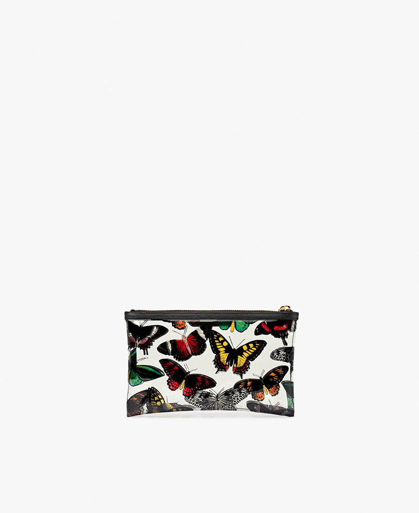 lady's vinyl clutch with butterflies