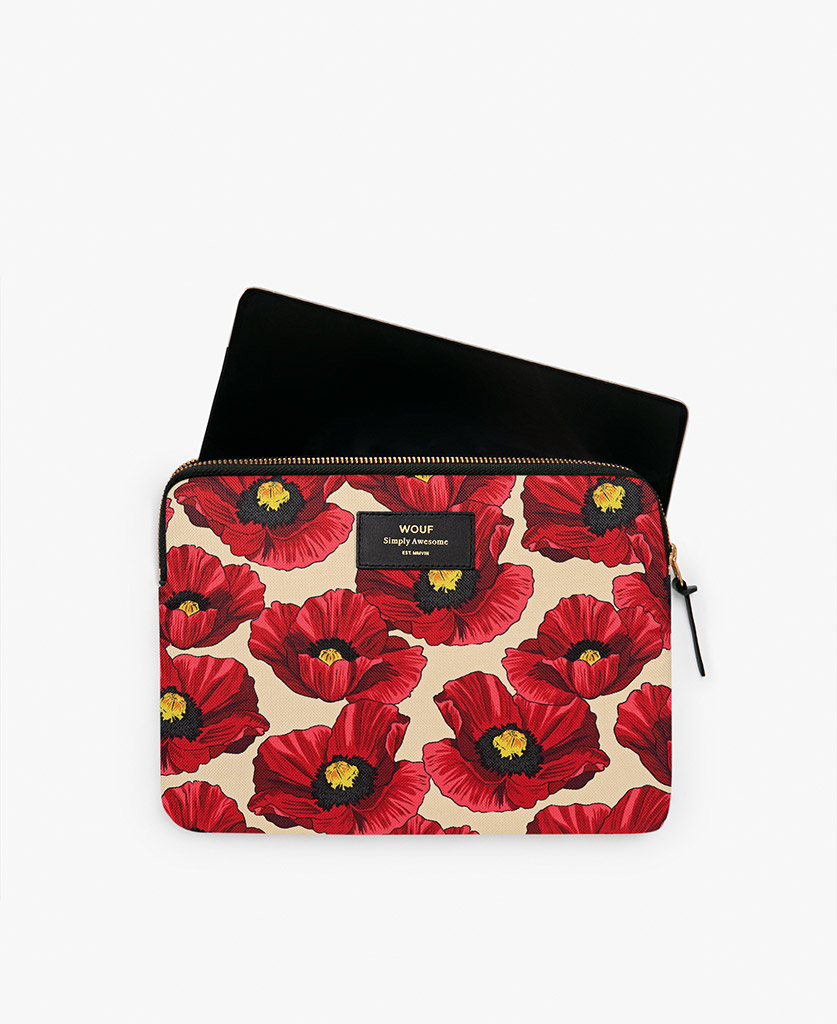 woman's beige iPad case with red flowers