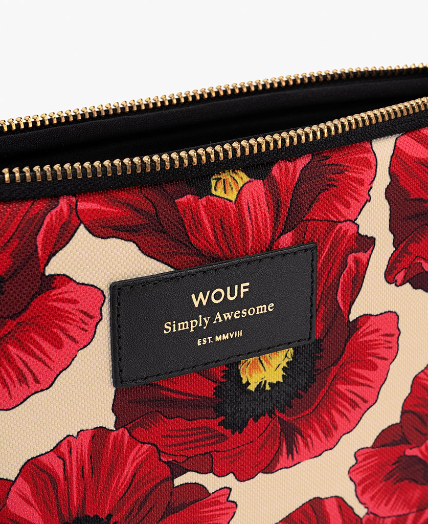 woman's iPad case with red flowers