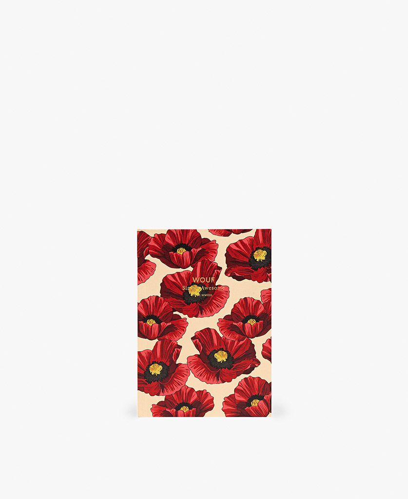 woman's A6 journal notebook in beige with red flowers