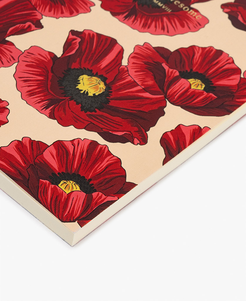 woman's A6 journal notebook with red flowers