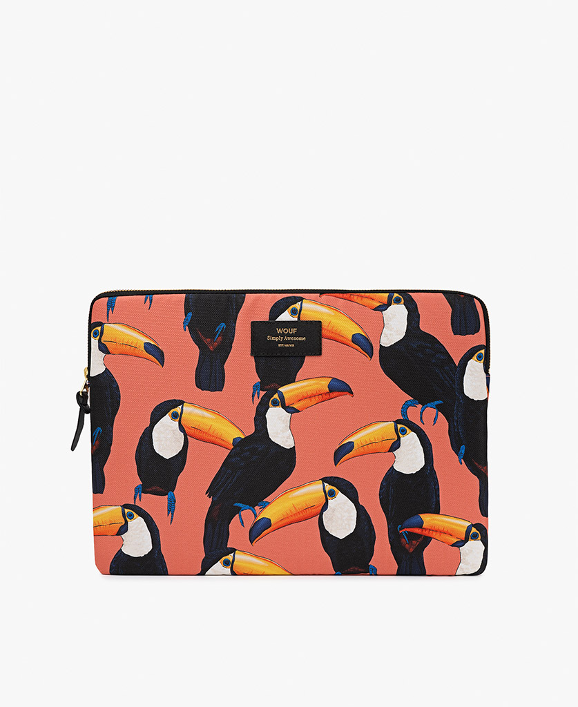 coral laptop case with birds