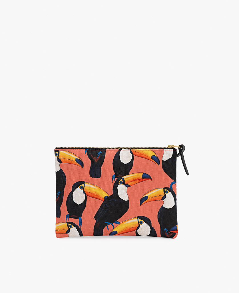 woman pouch with birds