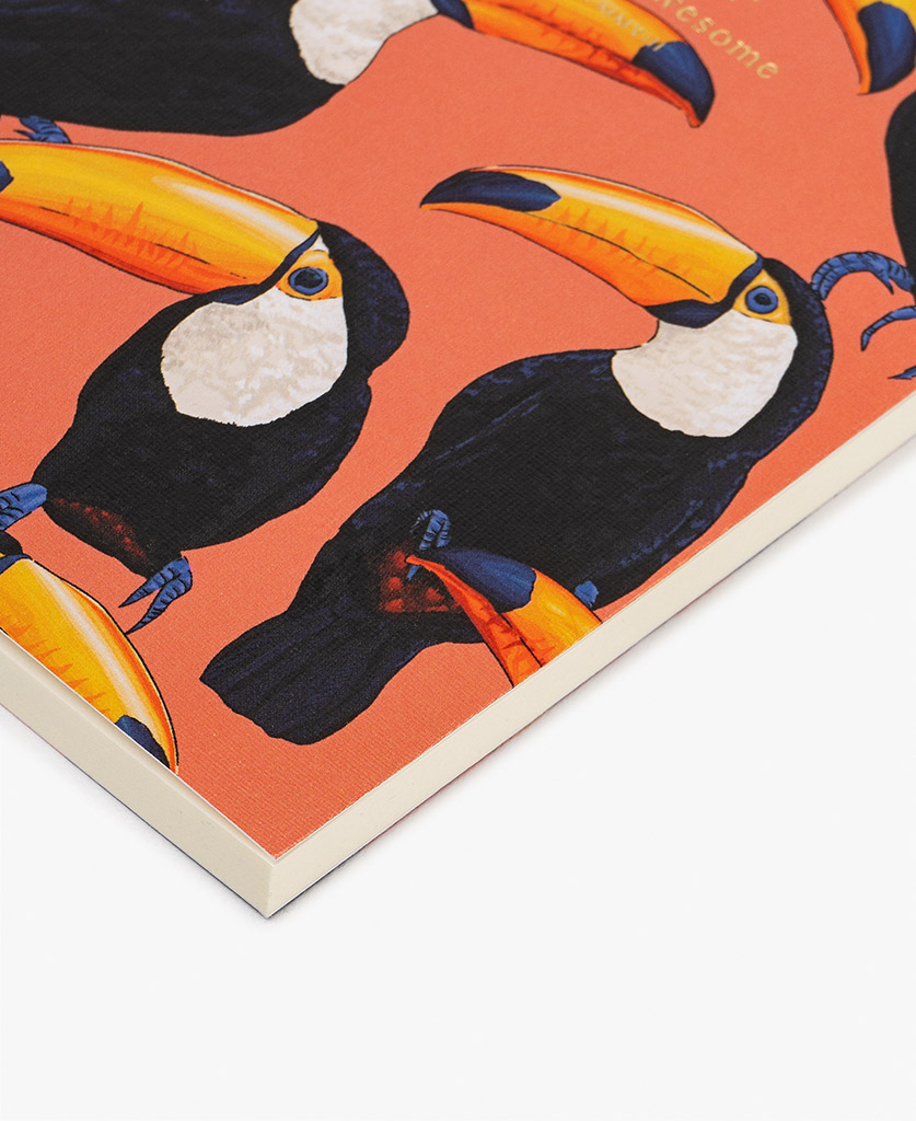 woman's coral A6 journal notebook with toucans
